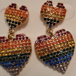 Francesca's Rainbow Crystal Heart Drop Earrings